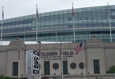 Outside the stadium before the start of the Solider Field 10 Mile race.