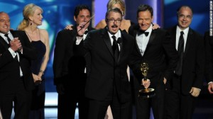 Breaking Bad creator Vince Gilligan and the cast on stage after winning the Emmy for Best Drama.