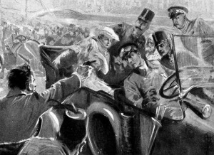 Artist's drawing of the assassination.