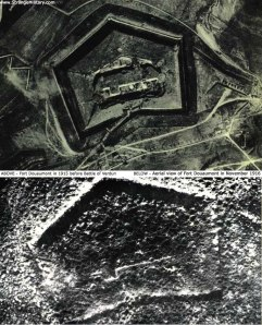 Aerial photo of Verdun fort before and after battle.