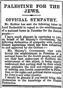 220px-Balfour_Declaration_in_the_Times_9_November_1917