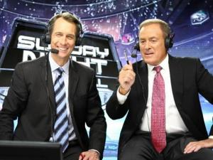 NBCs-Sunday-Night-Football-team-of-Cris-Collinsworth-Al-Michaels-and-Michele-Tafoya-not-pictured-picked-up-their-sixth-straight-Emmy-Award.