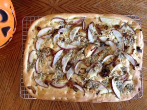 Focaccia with pear, bleu cheese and caramelized onions.