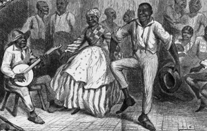A depiction of the 'happy slave' that was common in 19th and early 20th century history texts.